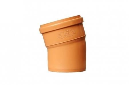 Kolano PCV 110 kąt 15 stopni kanalizacyjne pomarańczowe