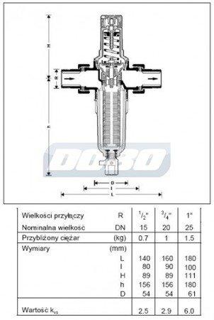Reduktor ciśnienia z filtrem FK06-1/2AA HONEYWELL